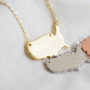 Gold American Map necklace